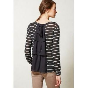 Anthro Clu + Willoughby stripe bow sweater O314